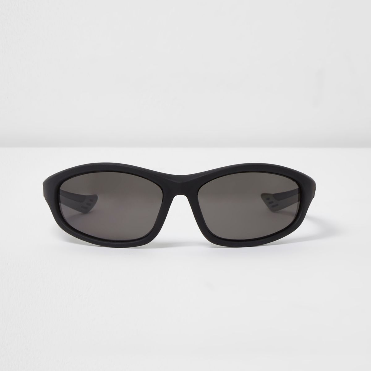 Black wraparound rubber arm sunglasses