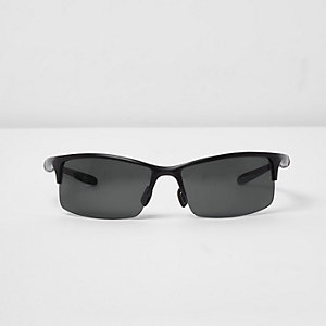 Black half frame wraparound sunglasses