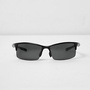 Black half frame wraparound sunglasses