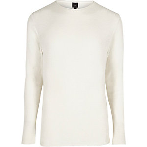 Cream rolled neck muscle fit sweater