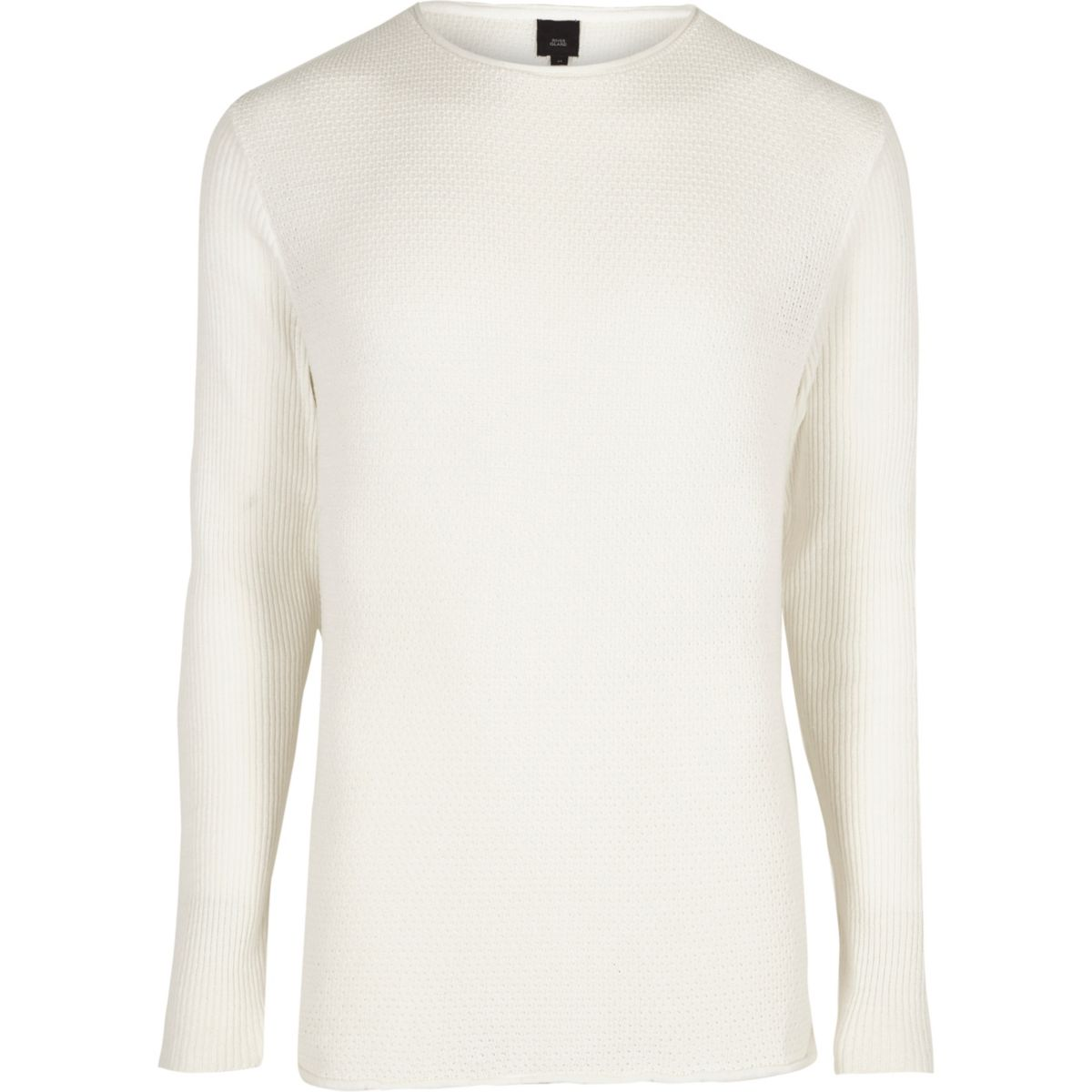 Cream rolled neck muscle fit jumper