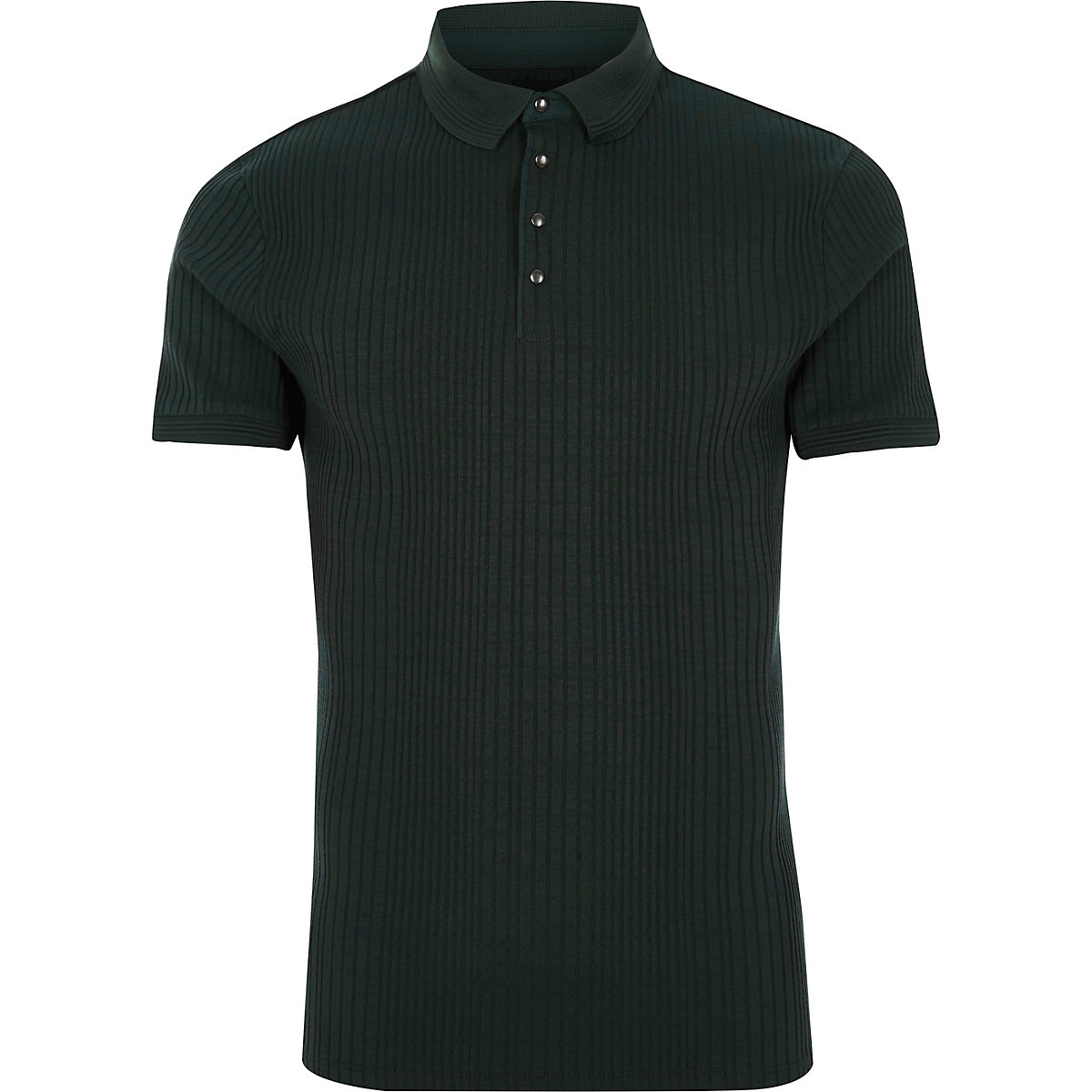 Dark green ribbed muscle fit polo shirt