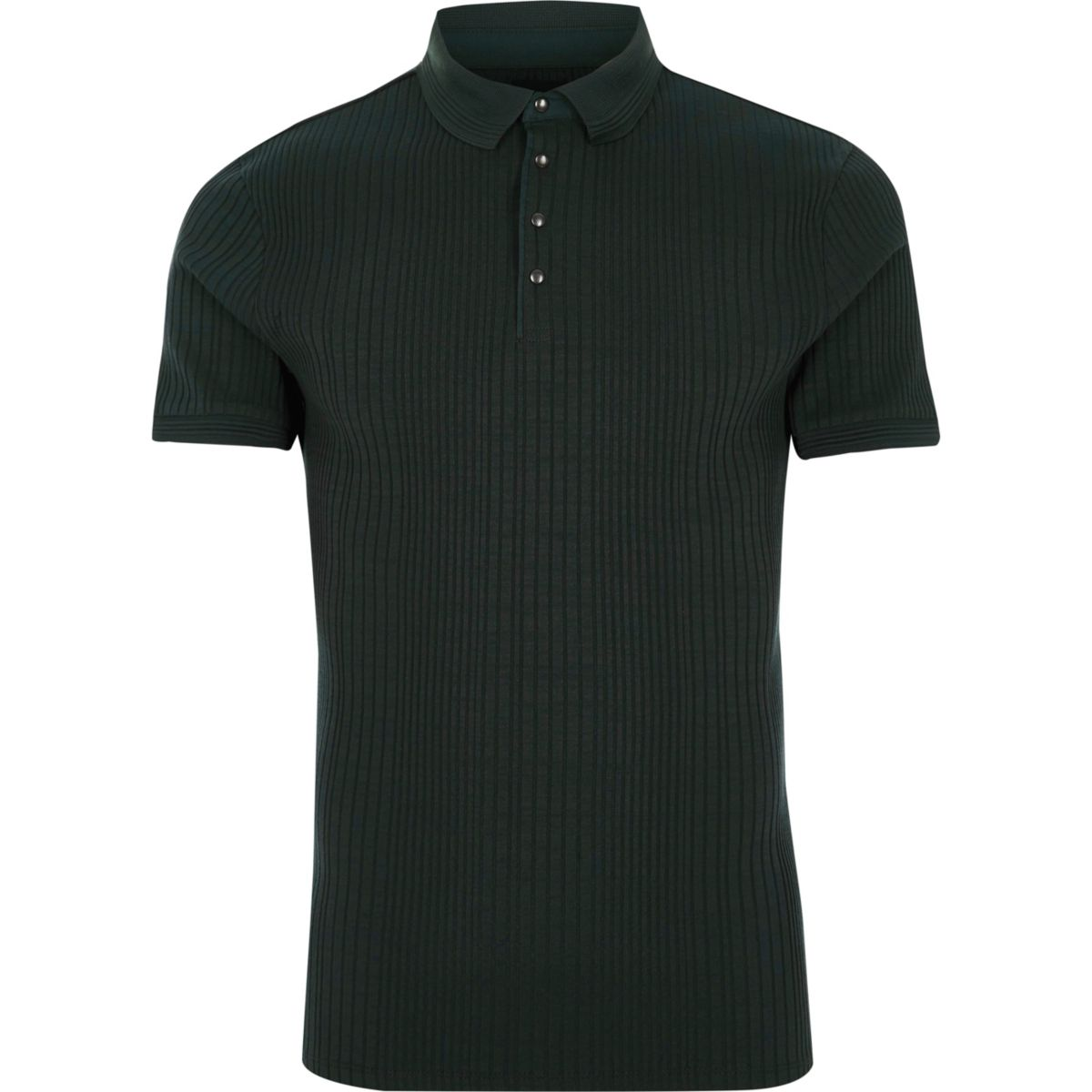 Dark Green Ribbed Muscle Fit Polo Shirt Polo Shirts