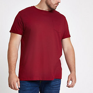 Big & Tall – Rotes T-Shirt mit Rollärmeln
