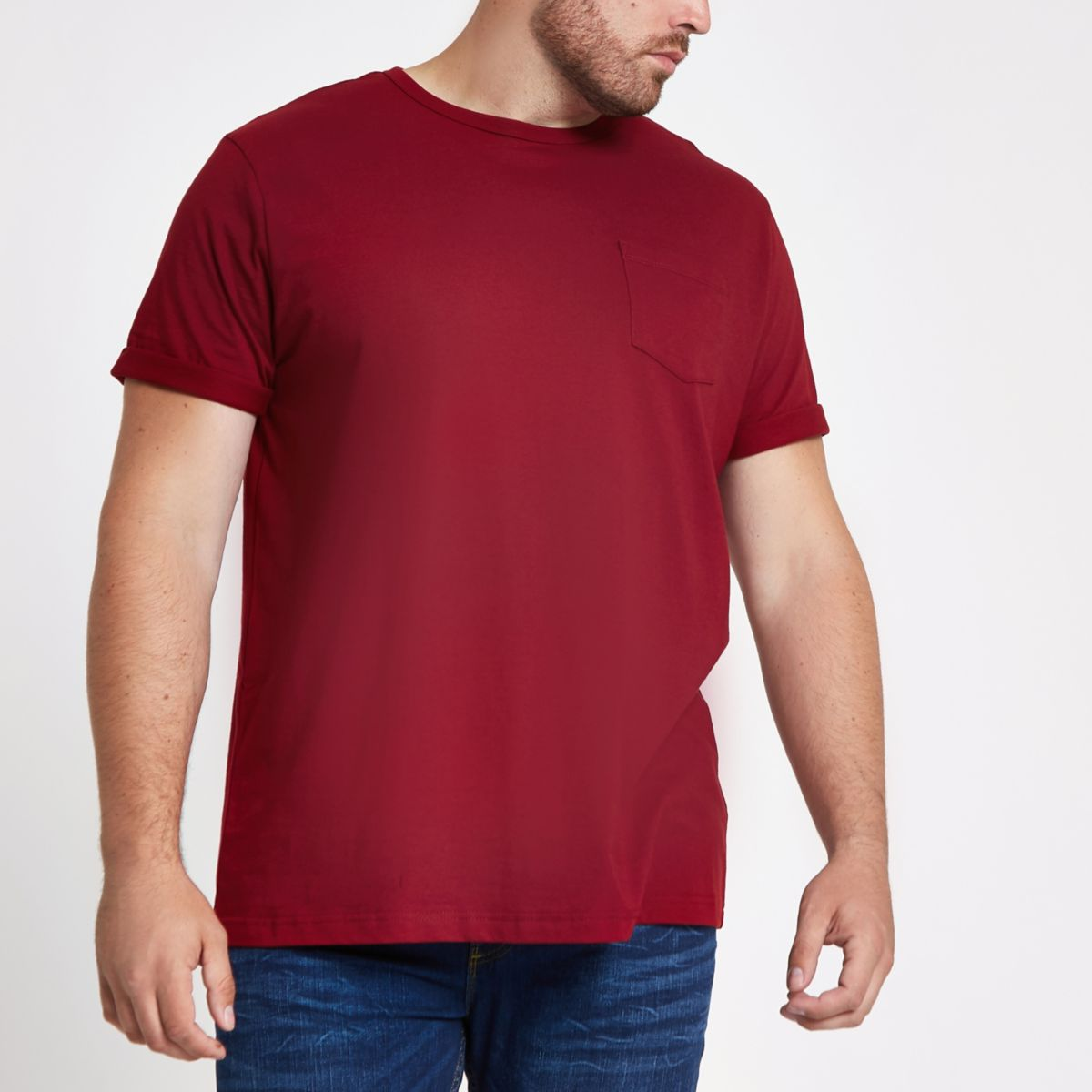 Big and Tall - Rood T-shirt met opgerolde mouwen