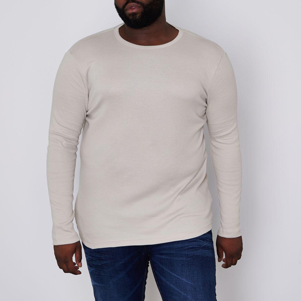 Big and Tall - Kiezelkleurig geribbeld T-shirt met lange mouwen