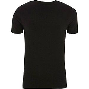 Zwart geribbeld aansluitend T-shirt met panelen