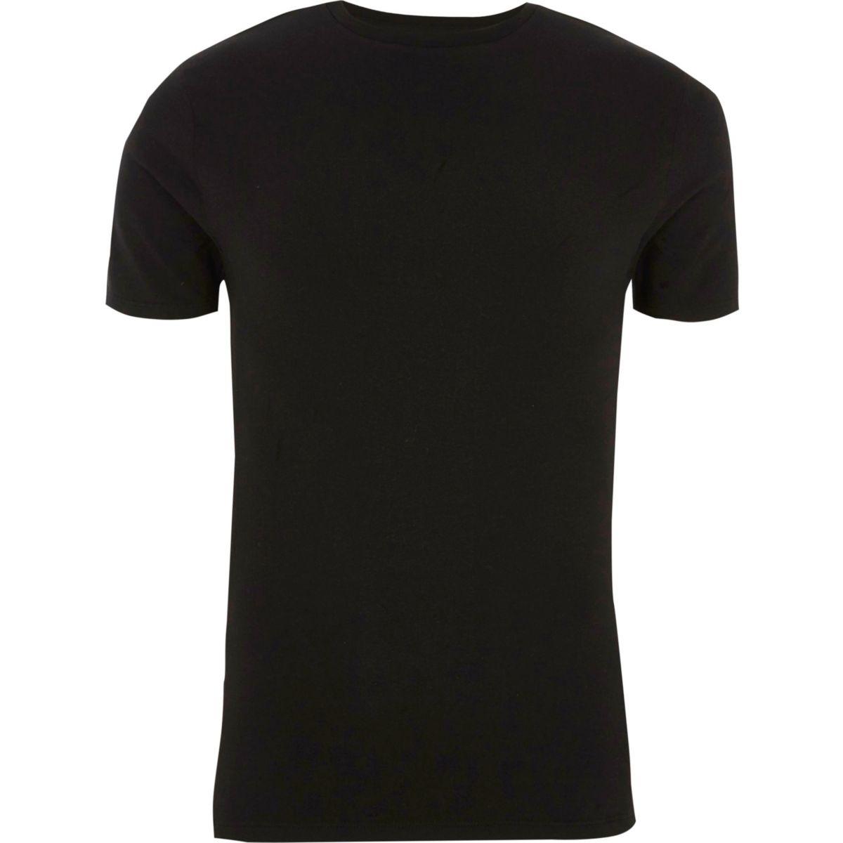 Black rib panel muscle fit T-shirt