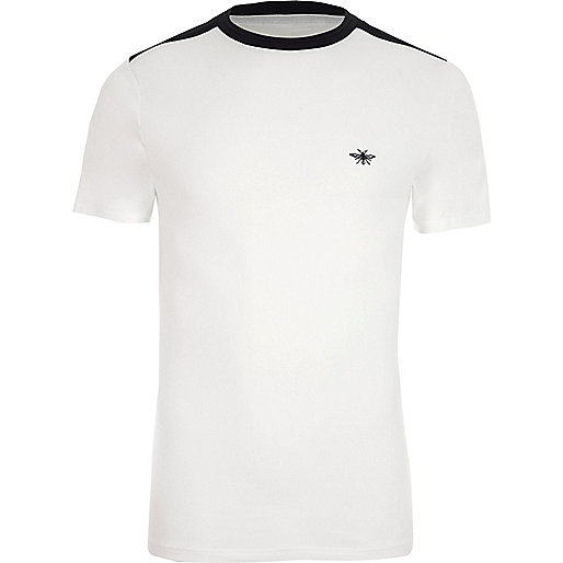 White muscle fit contrast crew neck T-shirt