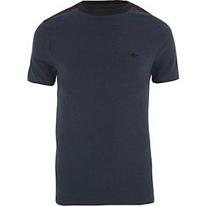 Marineblauw aansluitend T-shirt met contrasterende ronde hals