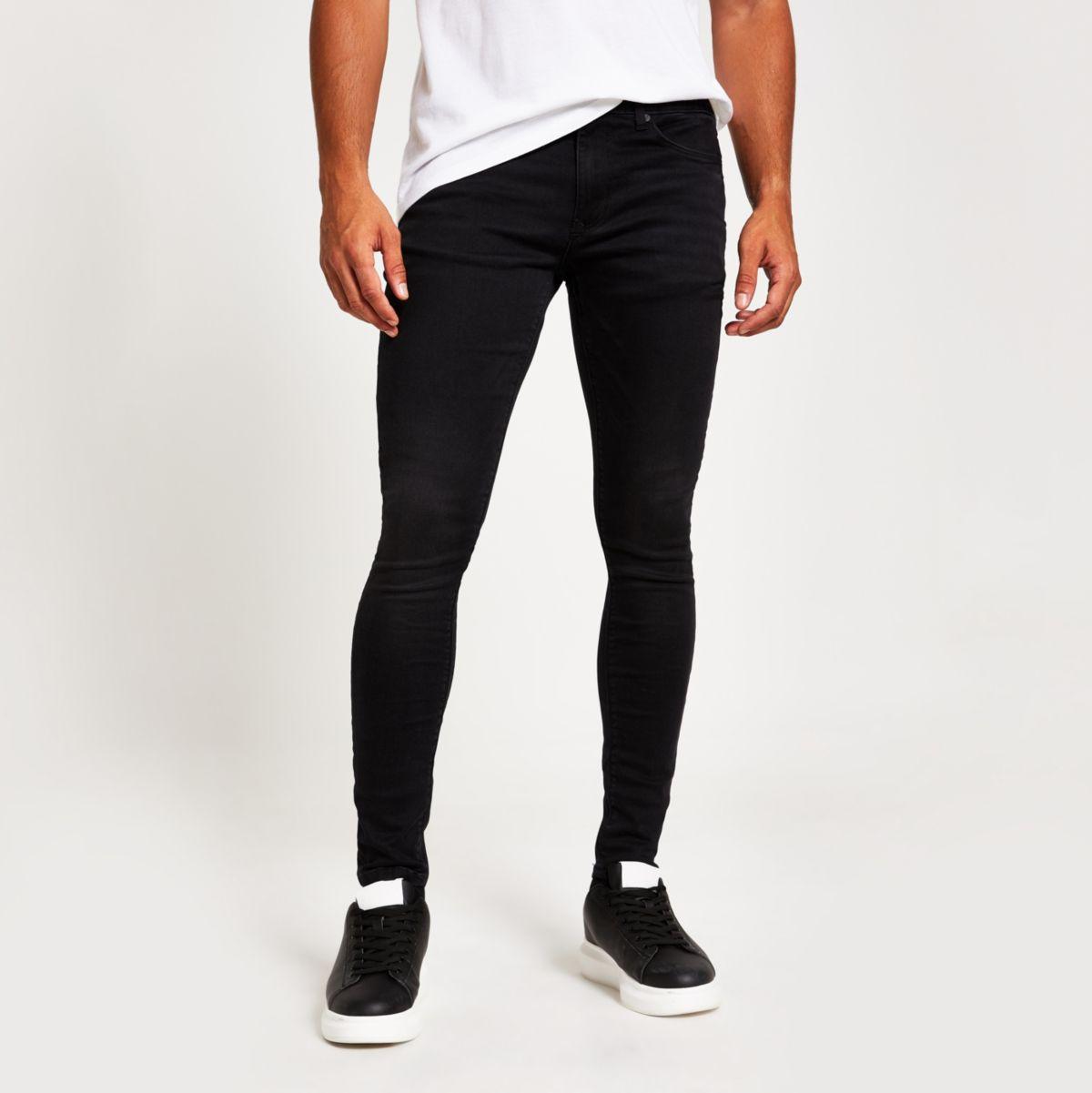 Ollie – Jean super skinny noir délavé irrégulièrement