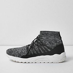Grey knitted sports trainers