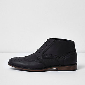 Black textured brogue boots