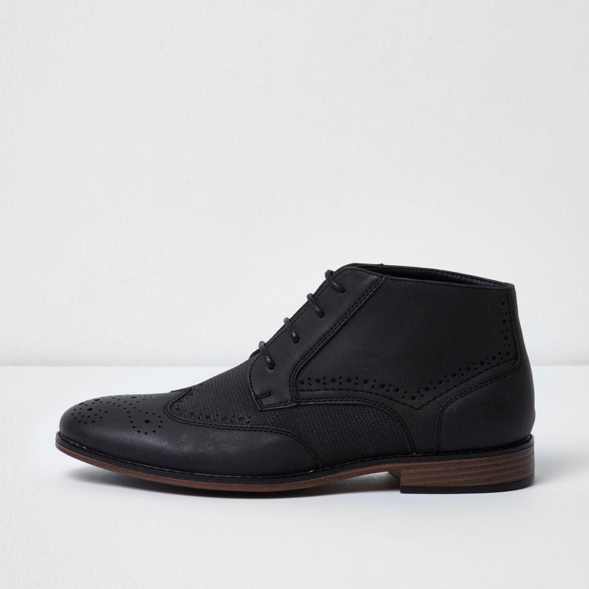 Black textured brogue boots
