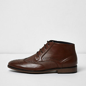 Brown textured brogue boots