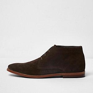 Dark brown suede desert boots