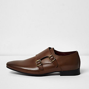 Tan monk strap shoes