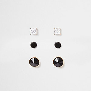 Black circle diamante stud earrings multipack