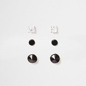 Multipack oorknopjes met glimmende zwarte steentjes