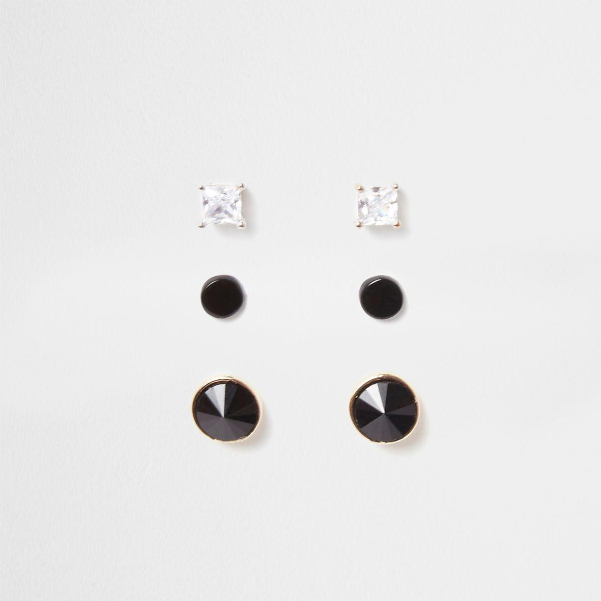 Black circle diamante stud earrings multipack