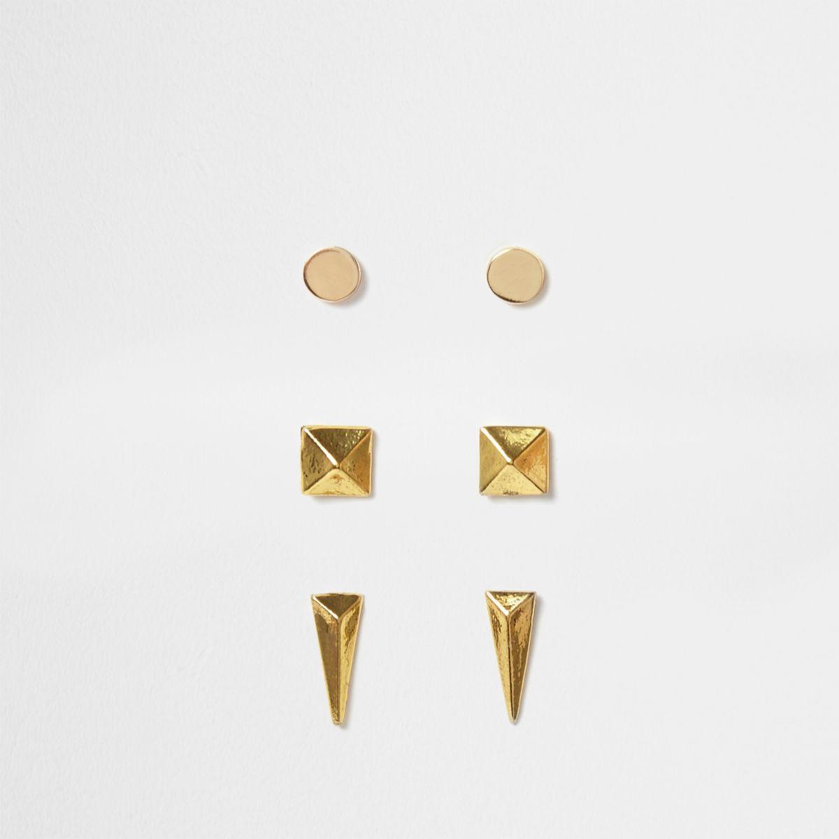 Gold tone stud earrings multipack