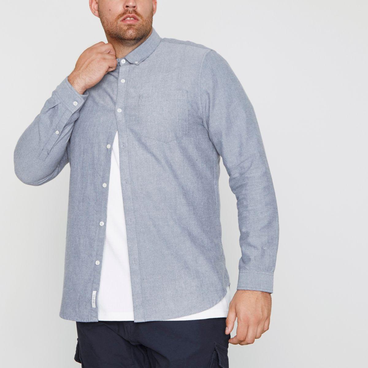RI Big and Tall - Lichtblauw Oxford geborsteld overhemd