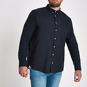 Big and Tall - Marineblauw Oxford overhemd met lange mouwen