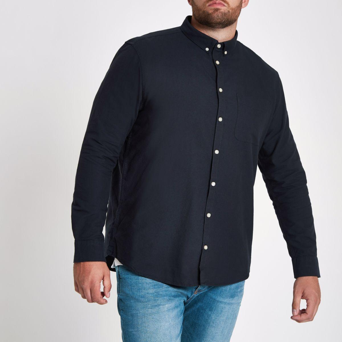 Big and Tall - Marineblauw overhemd met knoopsluiting