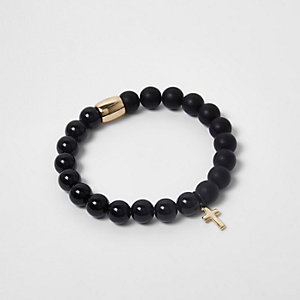 Black beaded cross bracelet