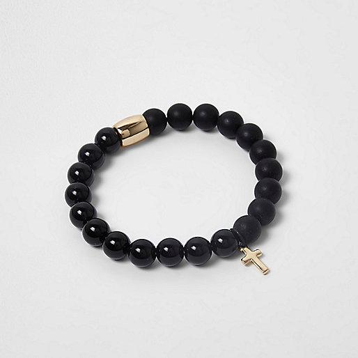 Black beaded cross bracelet