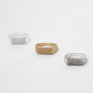 Lot de bagues métalliques texturées forme rectangle