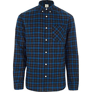 Big and Tall – Chemise manches longues à carreaux bleue