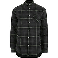 Big and Tall green check long sleeve shirt