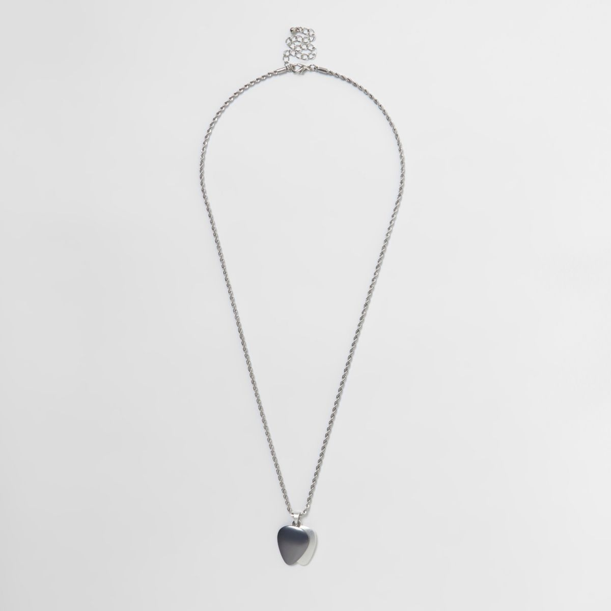 Silver tone double charm necklace