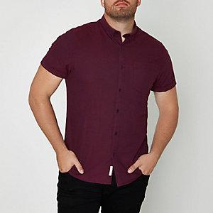 RI Big and Tall - Bordeauxrood overhemd met korte mouwen