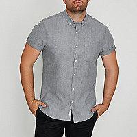 Big and Tall grey brushed short sleeve shirt