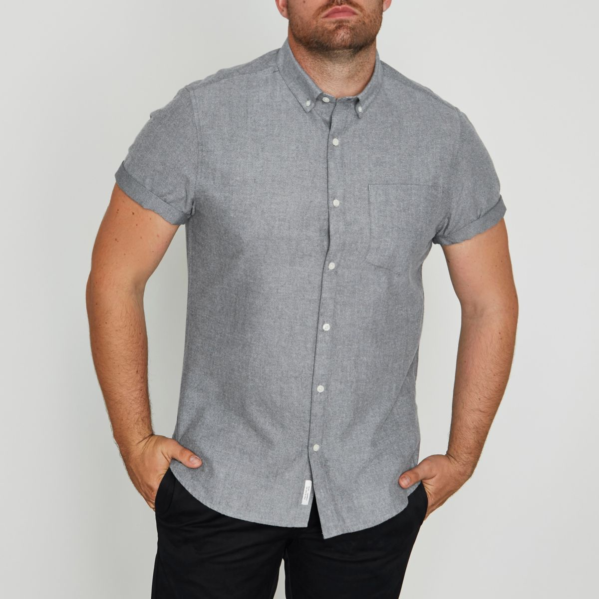 Big and Tall grey brushed short sleeve shirt