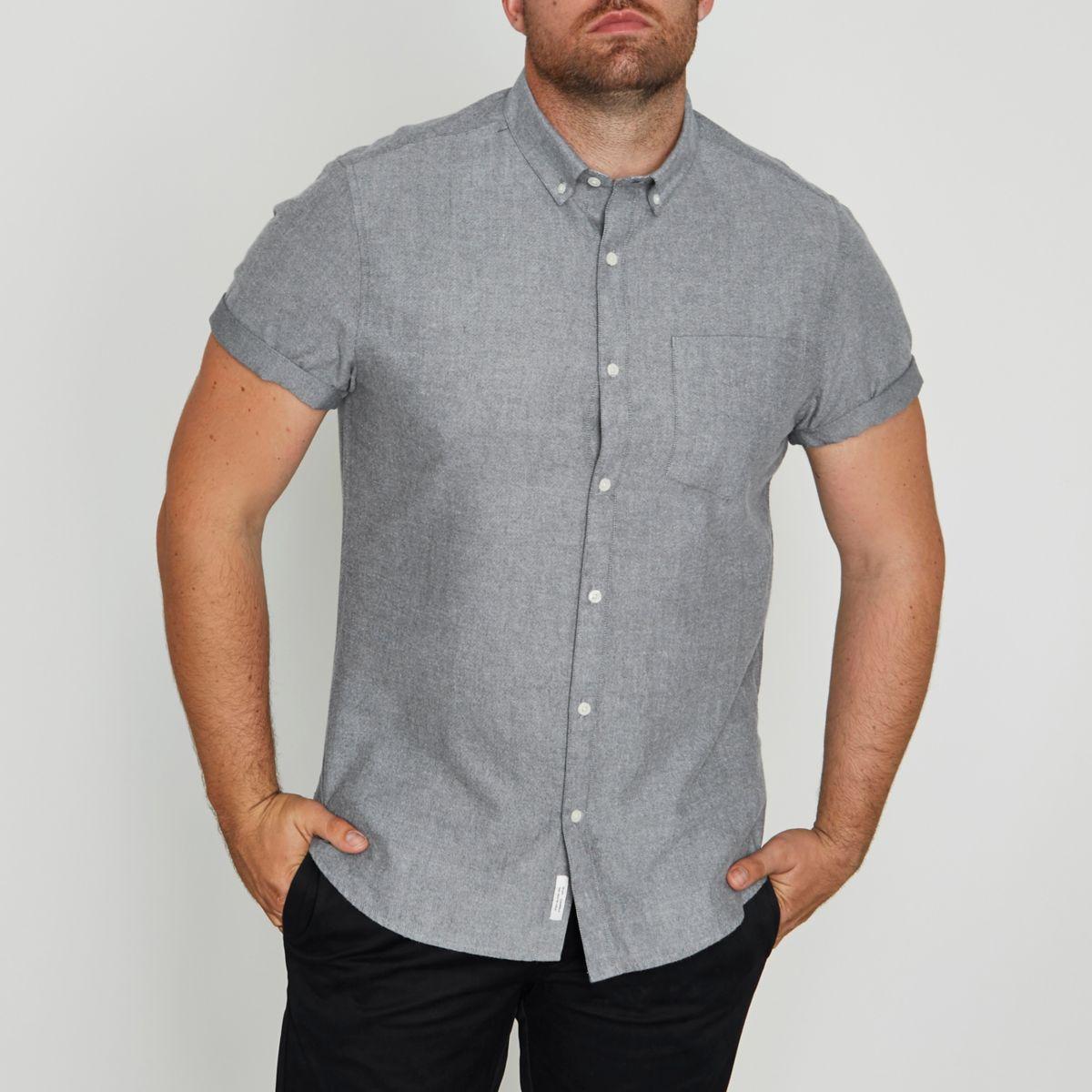 RI Big and Tall - Grijs geborsteld Oxford overhemd met korte mouwen