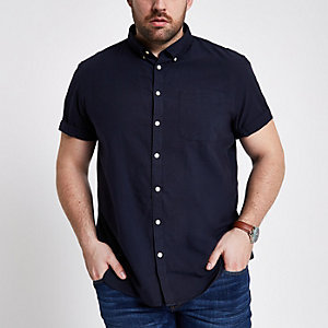 Chemise Oxford Big & Tall bleu marine à manches courtes