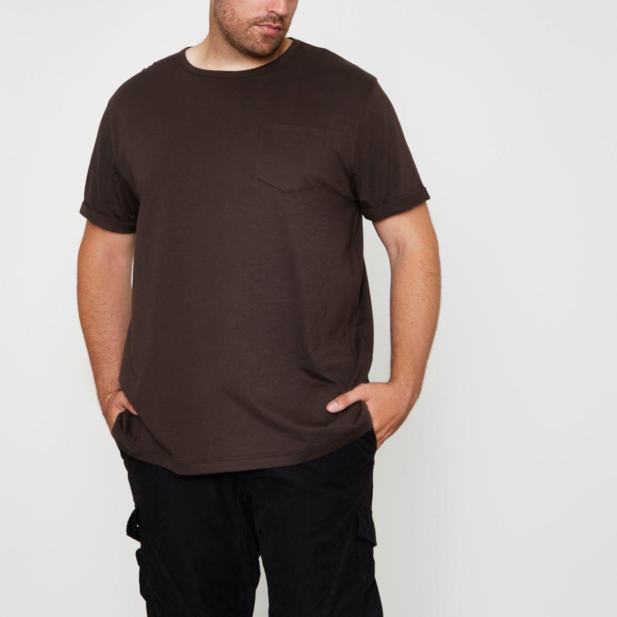 Big & Tall – T-shirt marron à manches retroussées