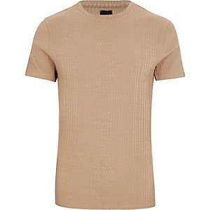 Big and Tall light brown ribbed T-shirt