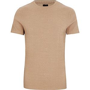 Big & Tall - T-shirt marron clair côtelé