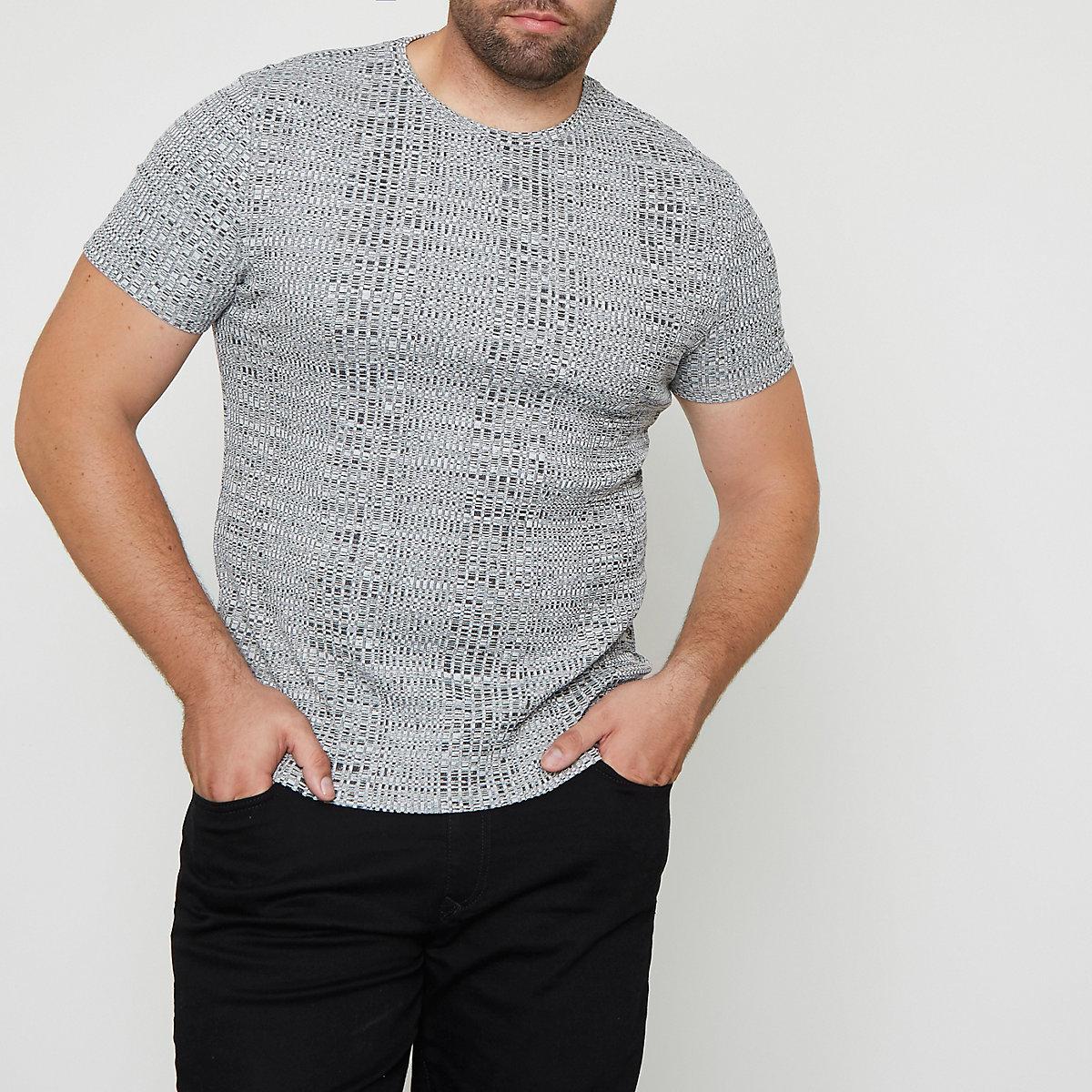 Big and Tall light grey ribbed T-shirt