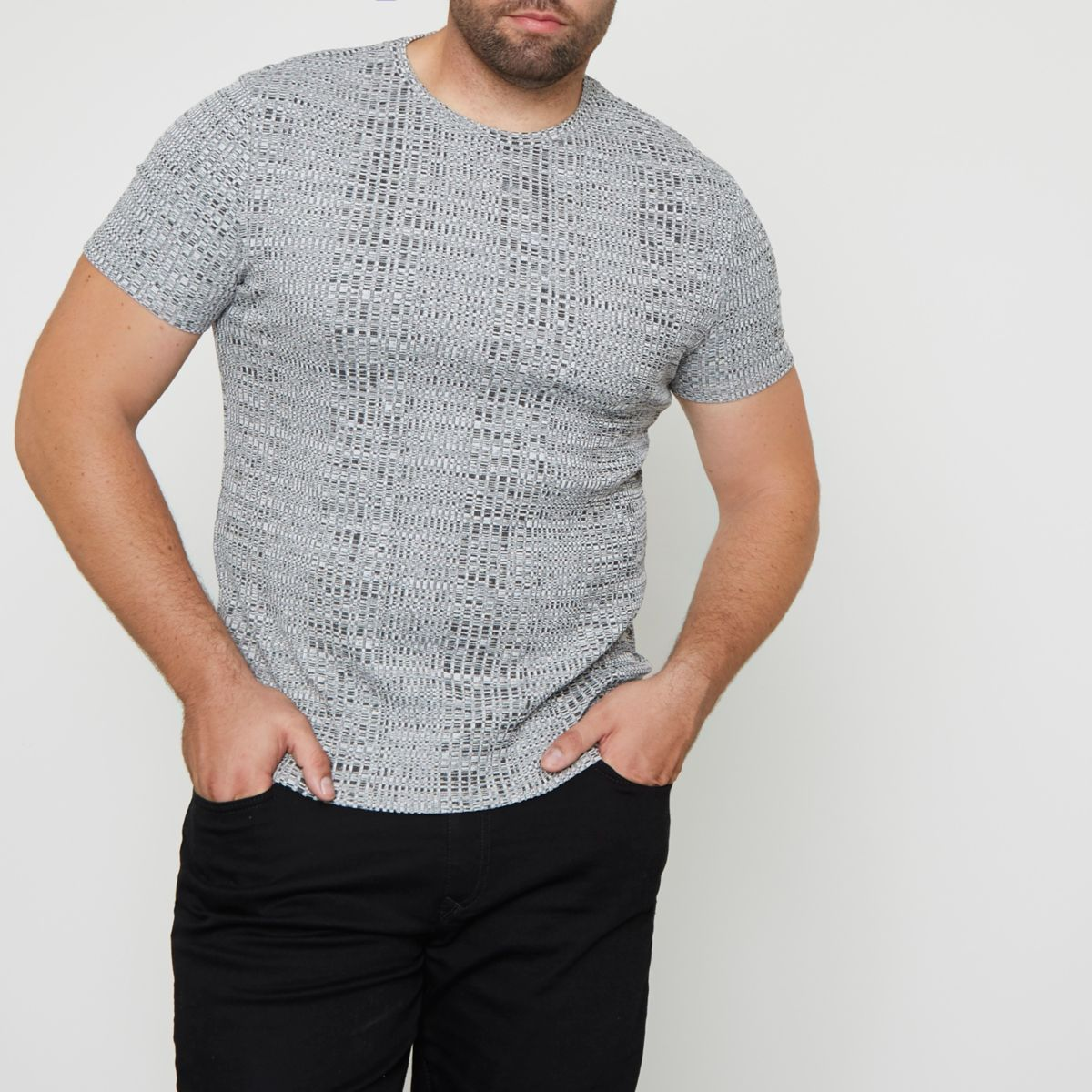 Big and Tall light grey ribbed T-shirt
