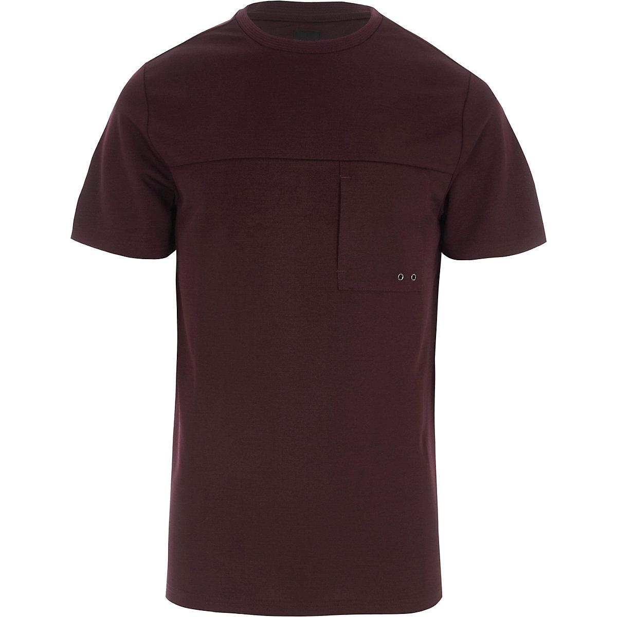 Burgundy slim fit pocket T-shirt