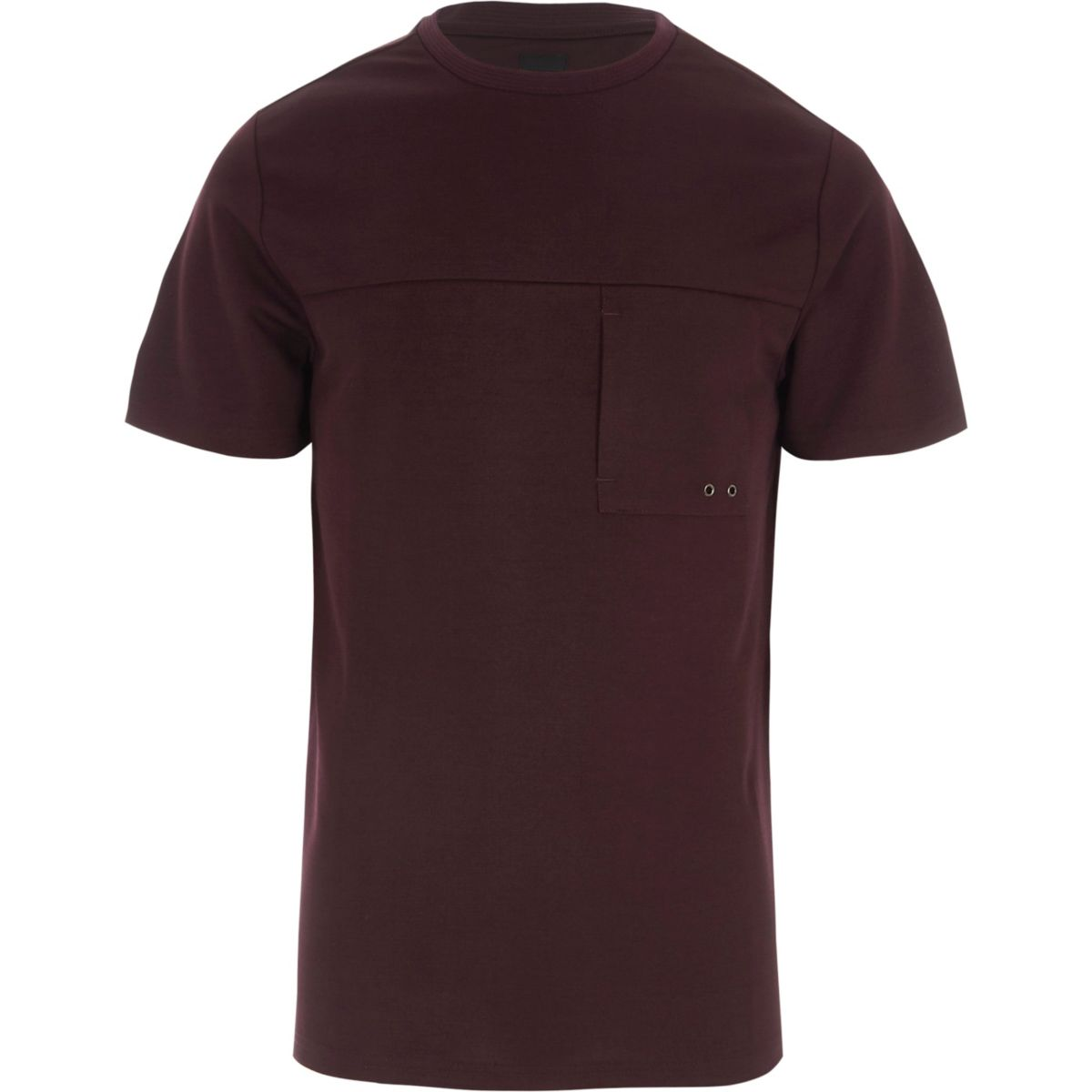 Burgundy slim fit pocket T-shirt