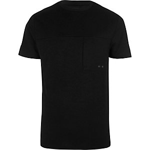 Schwarzes Slim Fit T-Shirt mit Tasche