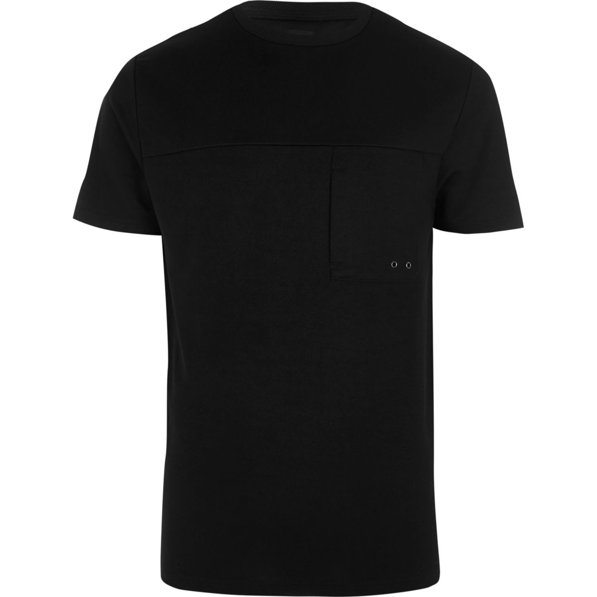 T-shirt slim noir avec poche fonctionnelle