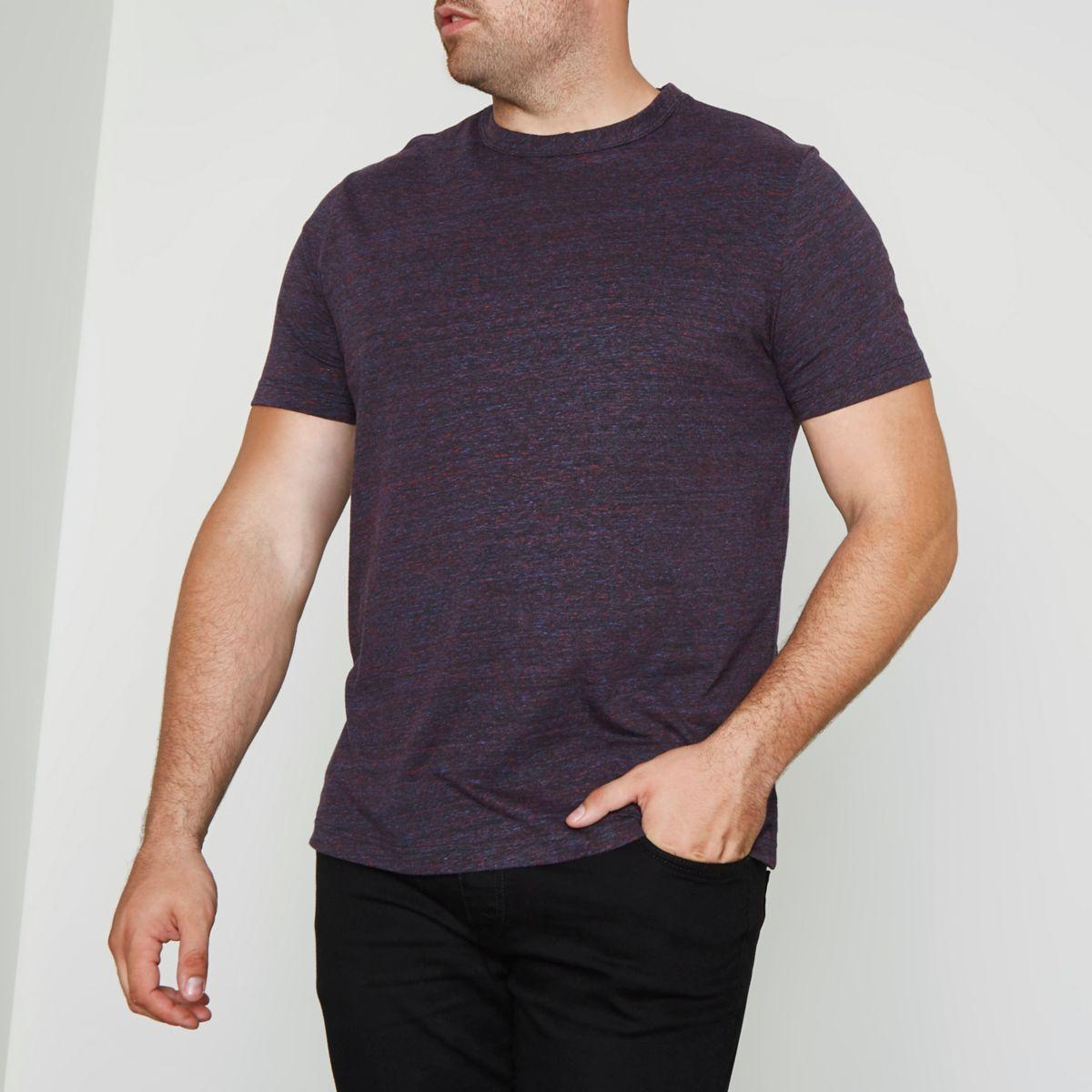 Big & Tall – Dunkelrotes T-Shirt mit Rundhalsausschnitt