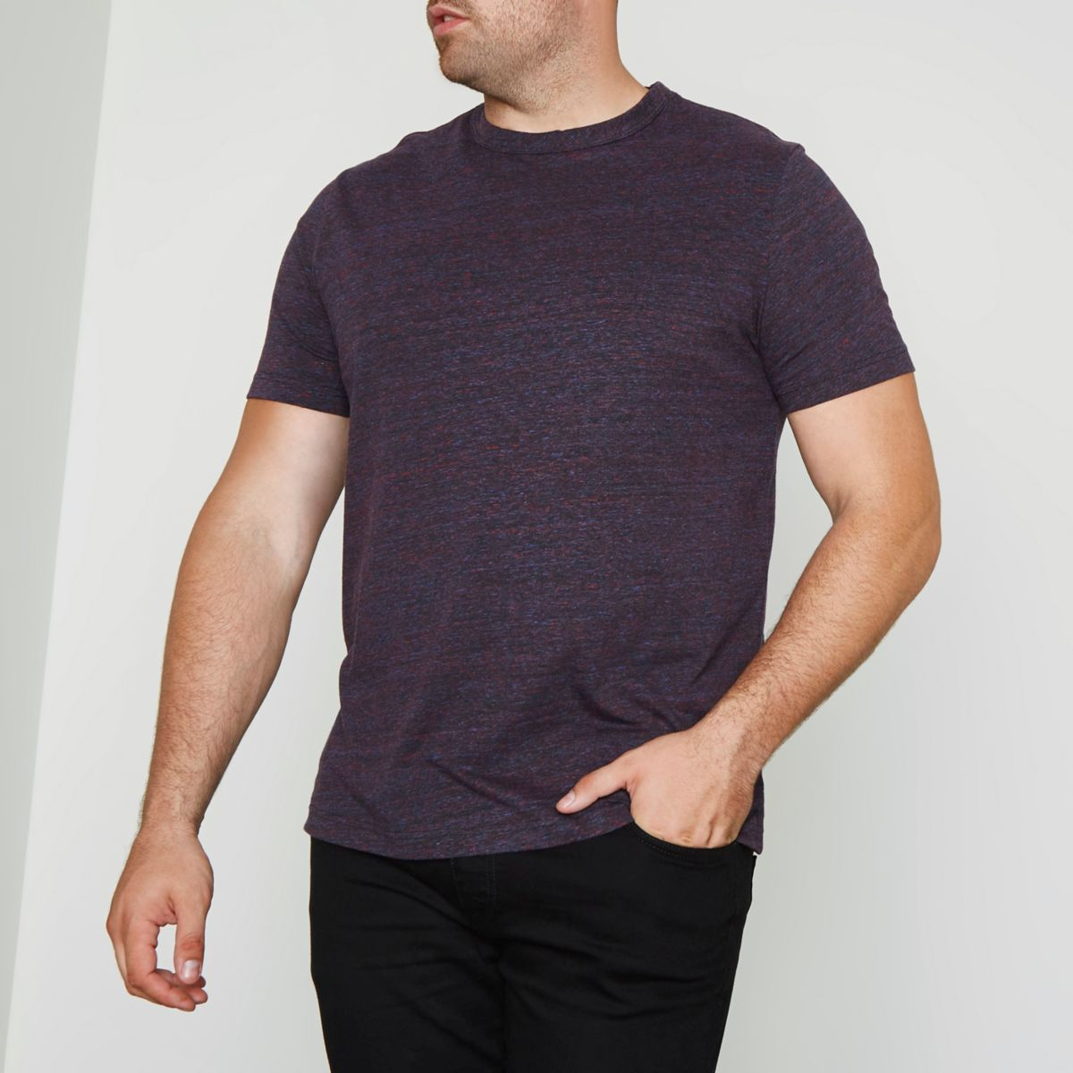 Big and Tall - Donkerrood T-shirt met ronde hals